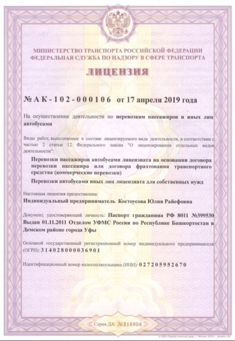 Лицензия 1 (миниразмер)